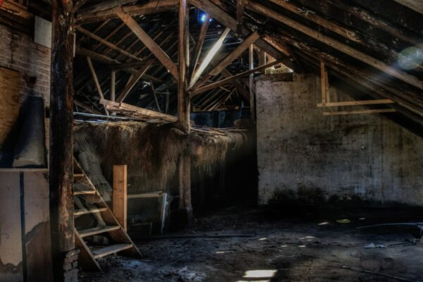 Inside of a dirty barn with water on the floor